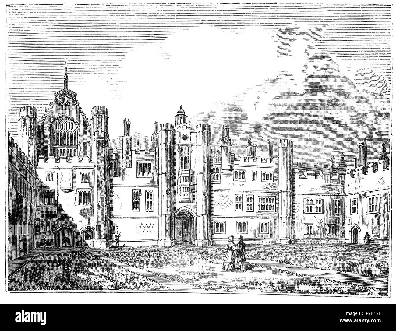 The Middle Quadrangle of Hampton Court Palace in the borough of Richmond upon Thames, south west and upstream of central London on the River Thames. Building of the palace began in 1515 for Cardinal Thomas Wolsey, a favourite of King Henry VIII. In 1529, as Wolsey fell from favour, the Cardinal gifted the palace to the King to check his disgrace; Henry VIII later enlarged it. Along with St James's Palace, it is one of only two surviving palaces out of the many owned by King Henry VIII. - Stock Image