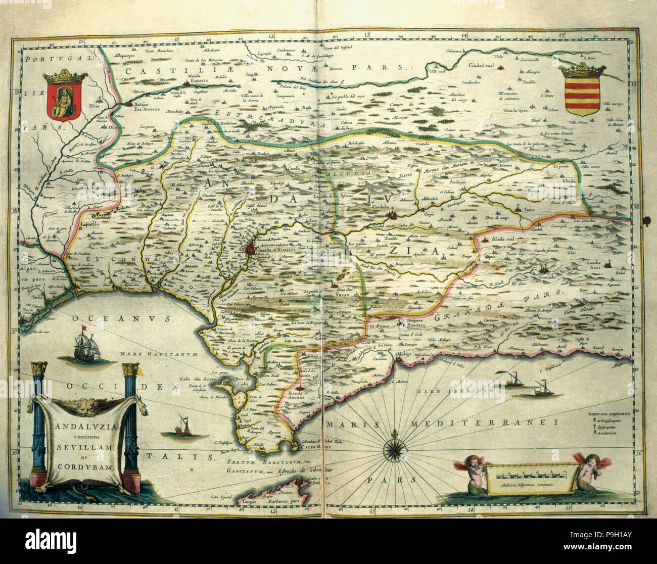 Andalusia, colored engraving from the book 'Le Theatre du monde' or 'Nouvel Atlas', 1645, created… Stock Photo