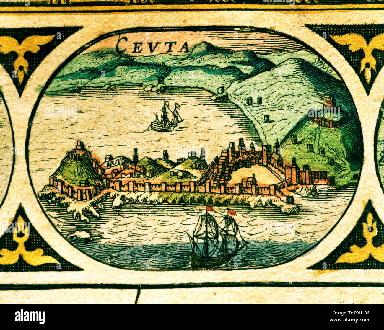 Ceuta, colored engraving from the book 'Le Theatre du monde' or 'Nouvel Atlas', 1645, created, pr… Stock Photo
