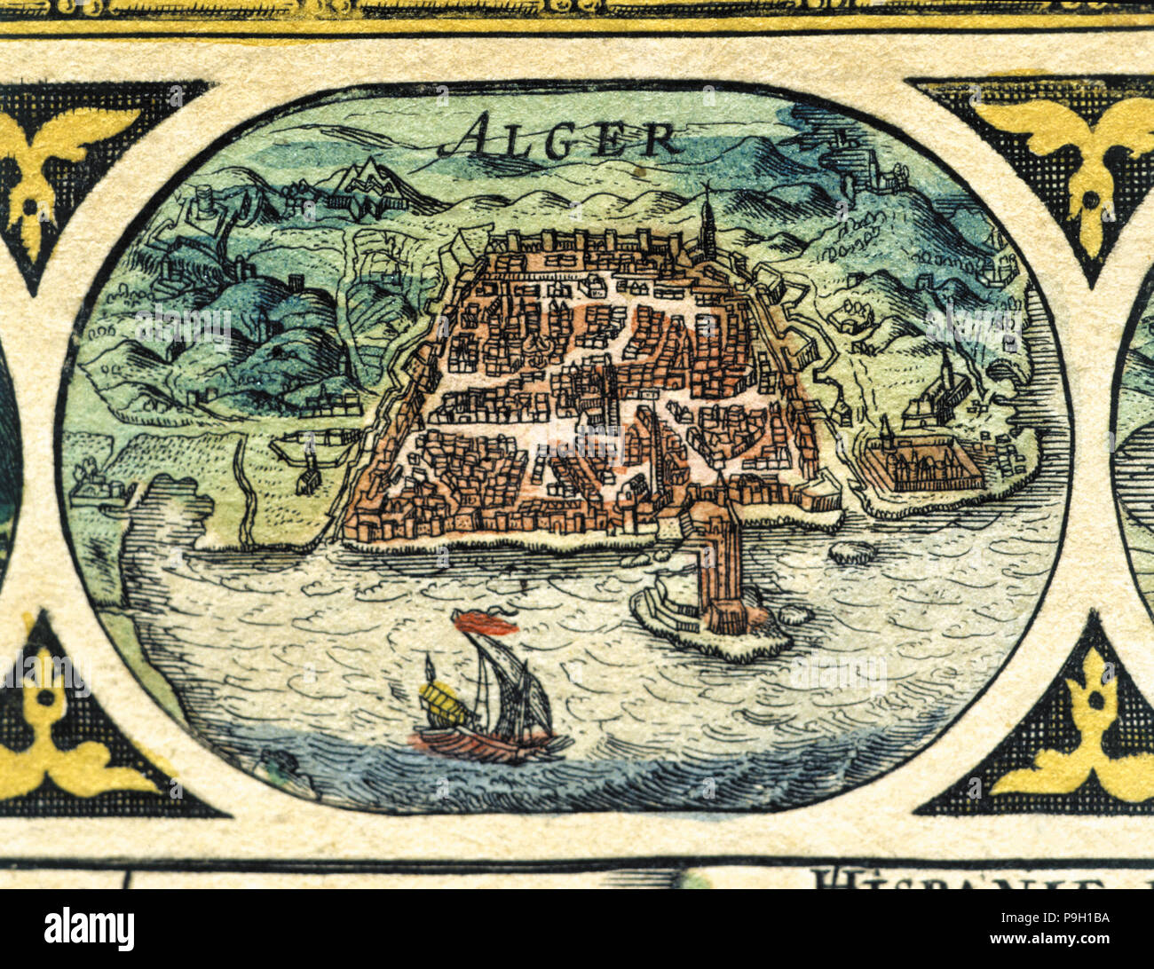Algiers, colored engraving from the book 'Le Theatre du monde' or 'Nouvel Atlas', 1645, created, … Stock Photo