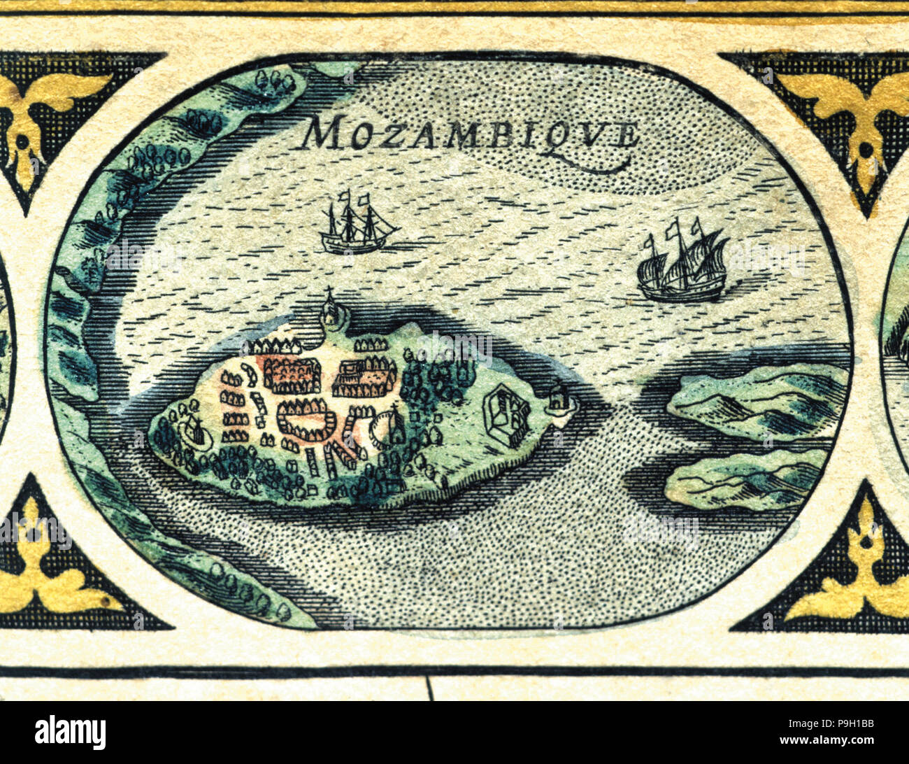 Mozambique, colored engraving from the book 'Le Theatre du monde' or 'Nouvel Atlas', 1645, create… Stock Photo