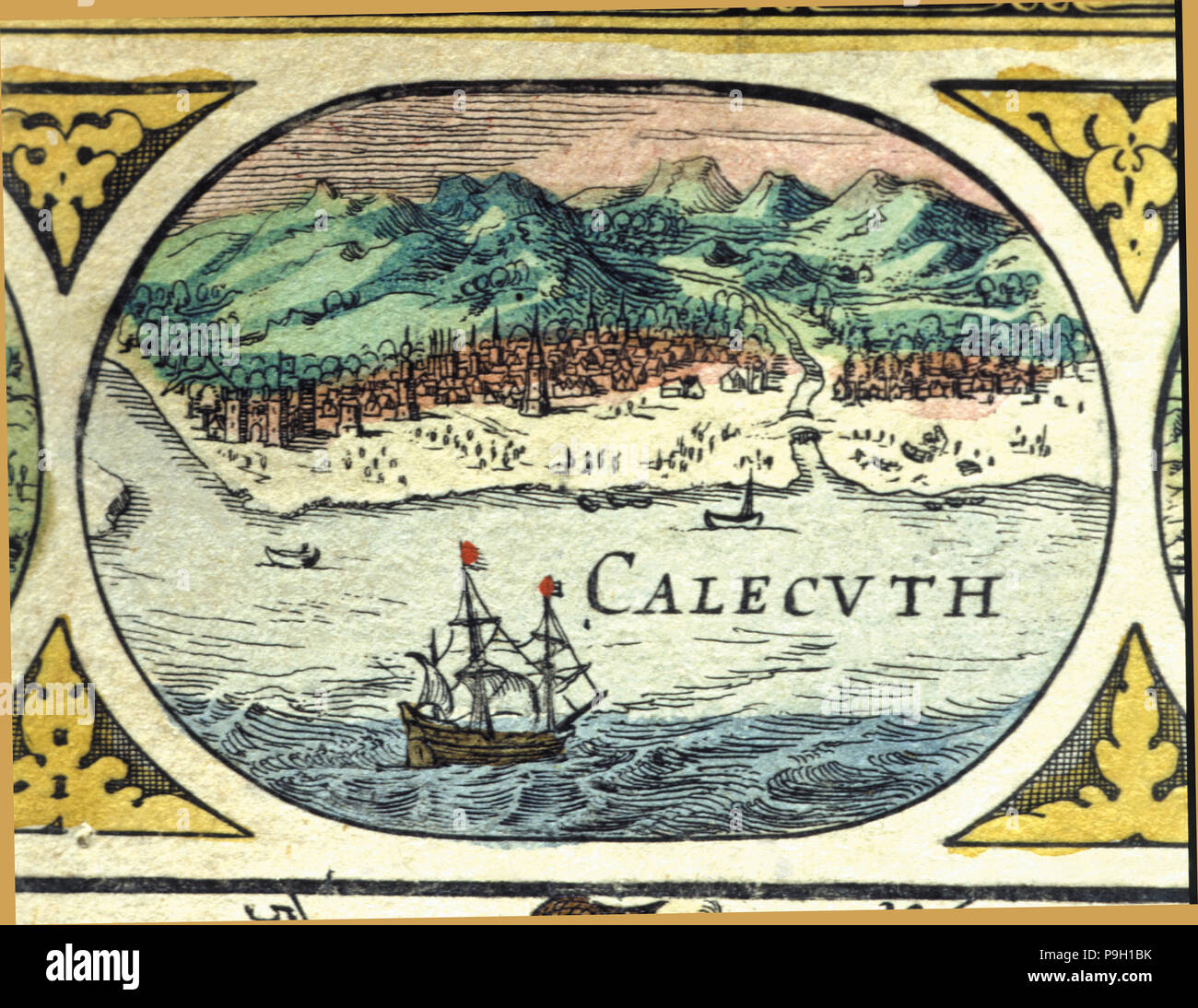 Calcutta, colored engraving from the book 'Le Theatre du monde' or 'Nouvel Atlas', 1645, created,… Stock Photo