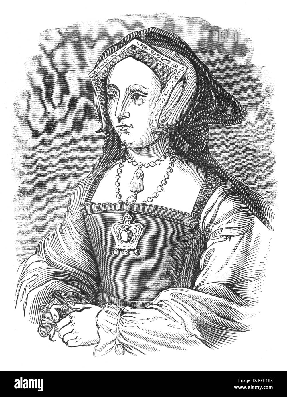 A portrait of Jane Seymour (1508 – 1537),Queen of England from 1536 to 1537 as the third wife of King Henry VIII. She succeeded Anne Boleyn as queen consort following the latter's execution in May 1536. She died of postnatal complications less than two weeks after the birth of her only child, a son who became King Edward VI. She was the only one of Henry's wives to receive a queen's funeral, and his only consort to be buried beside him in St George's Chapel at Windsor Castle. - Stock Image