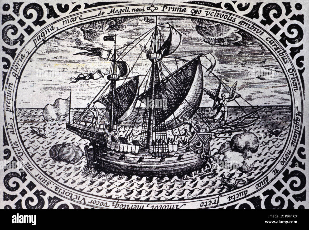 Engraving showing the ship Victoria with which Magellan circumnavigated the Earth between 1519 and 1522. - Stock Image