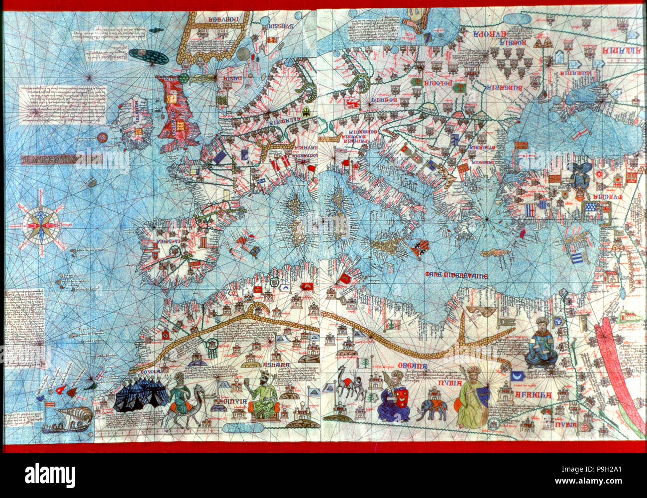 Catalan Atlas of 1375, detail of North Africa and Europe, reproduction from the Naval Museum of M… Stock Photo