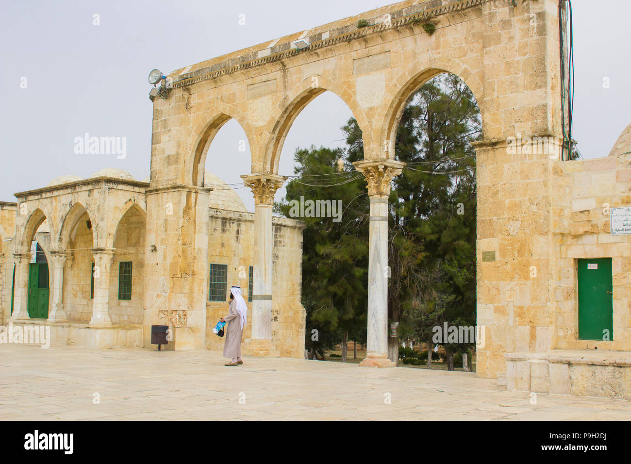 Some of the domed shrines on The Temple Mount in Jerusalem Israel. The place of the Dome of The Rock Islamic Mosque - Stock Image