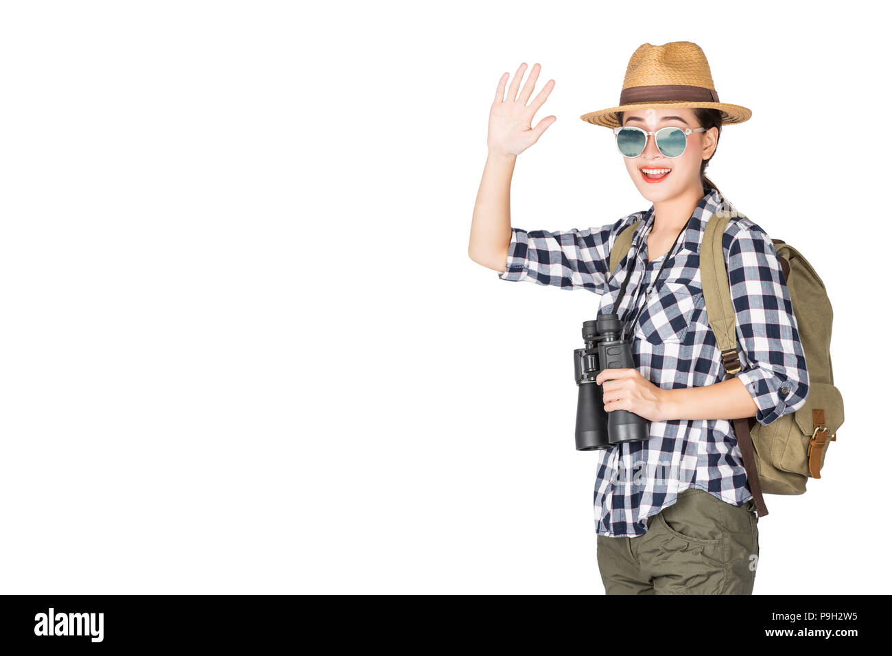 Woman with Binoculars and Telescope,Travel concept, isolated on white background - Stock Image