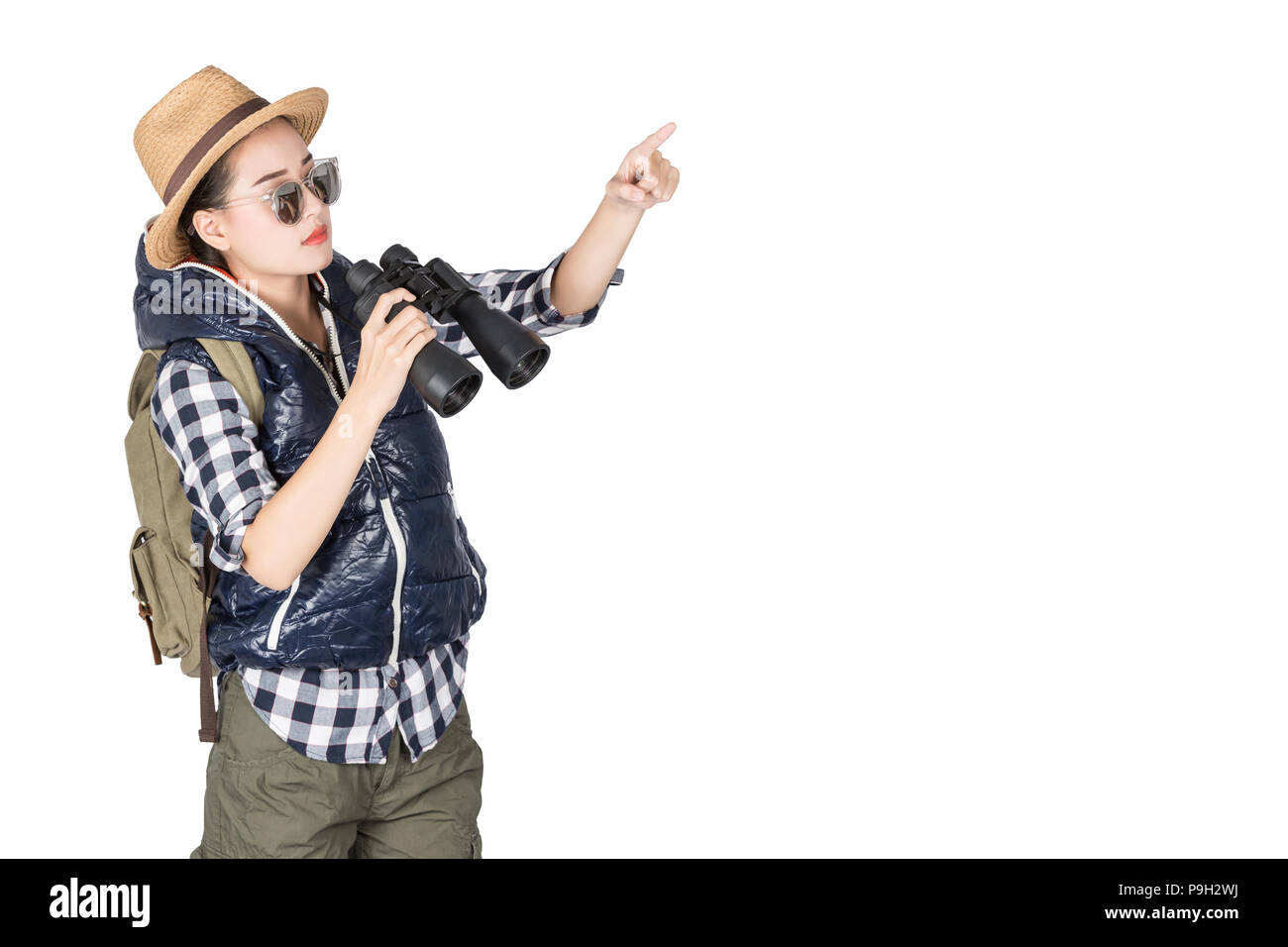 Woman with Binoculars and telescope,Travel concept isolated on white background - Stock Image