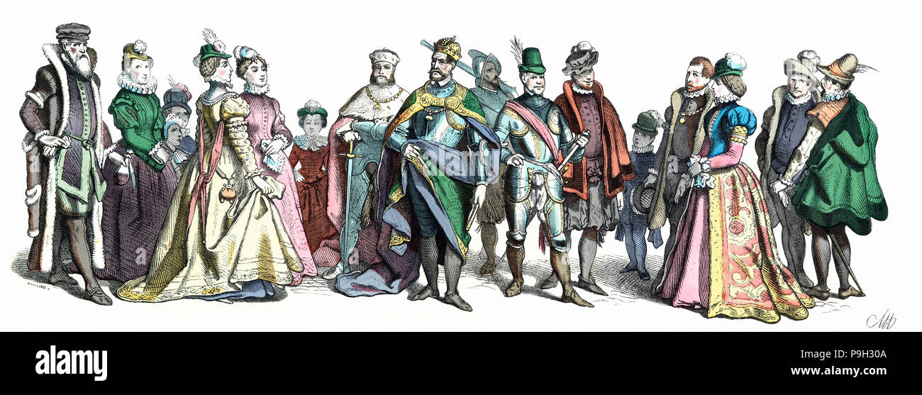 Personages of the court of Charles V, 16th century. German Engraving 1860. - Stock Image