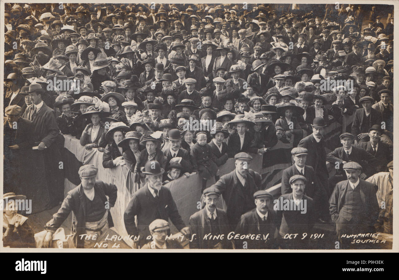 Vintage Photograph Showing Spectators at The Launch of H.M.S. King George V in Portsmouth on October 9th 1911 - Stock Image