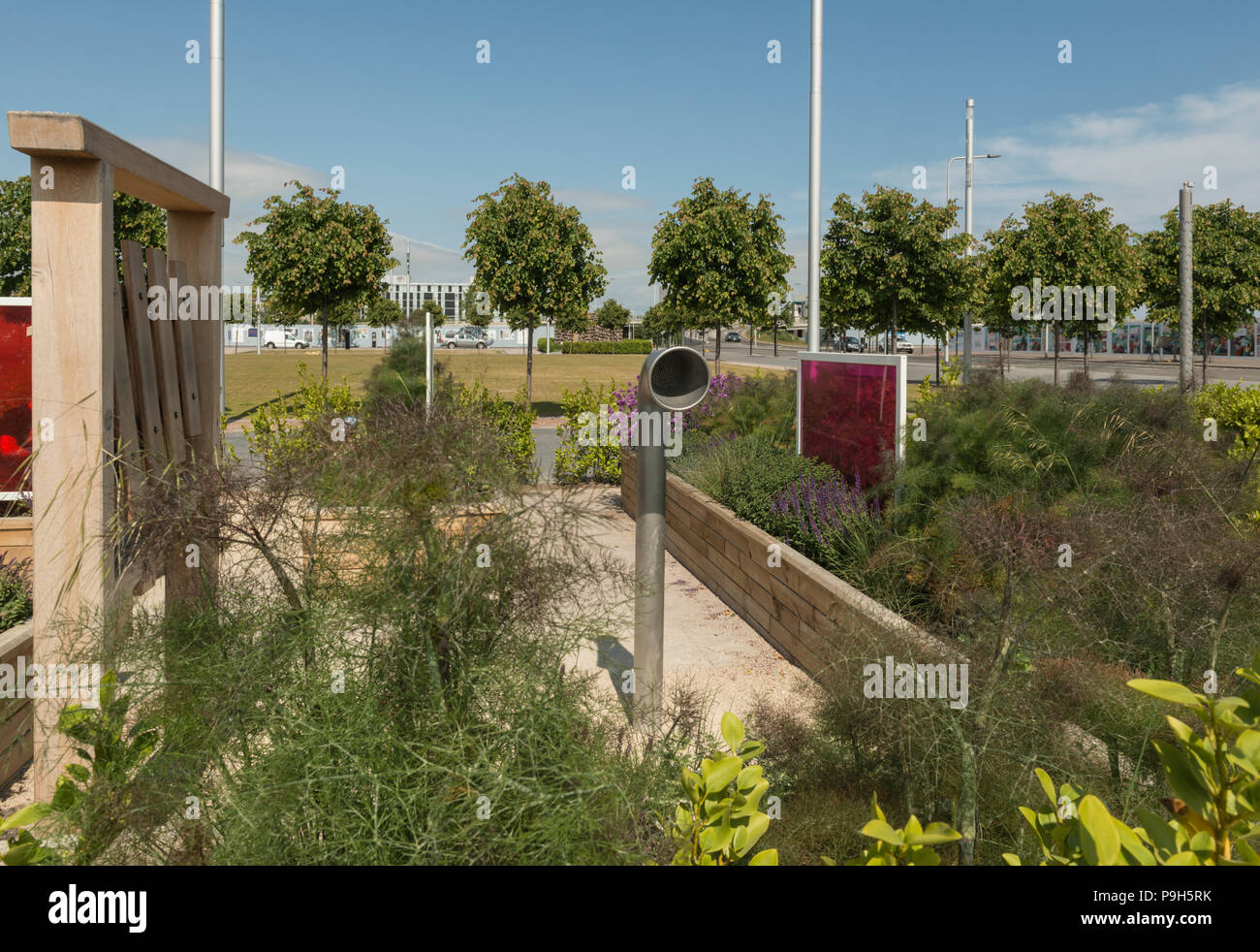 There are multiple sensory elements in the sensory garden of Slessor Gardens, part of the Dundee Waterfront development scheme, Dundee, Scotland, UK. - Stock Image