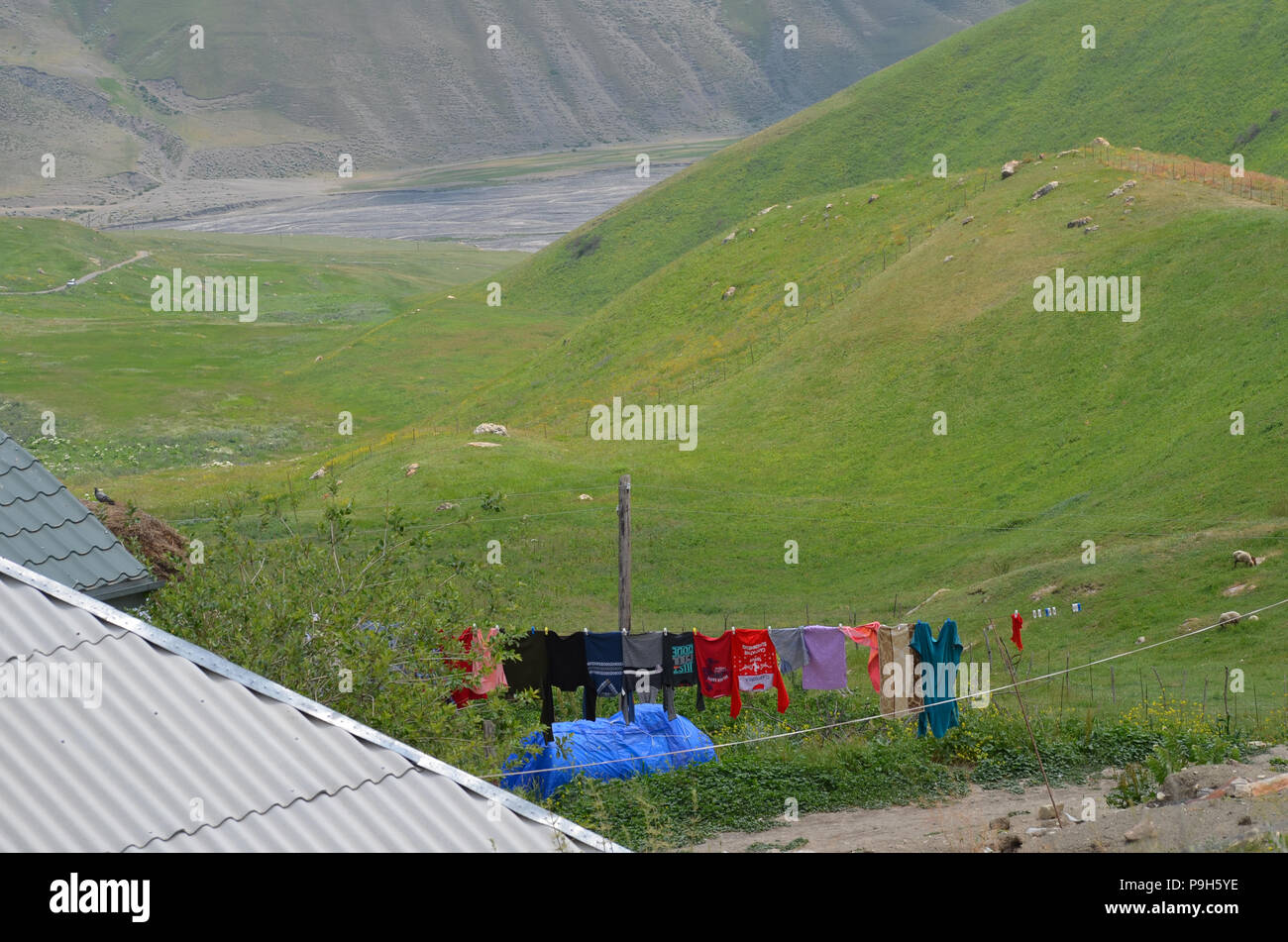 Qalayxudat , Azerbaijan, a remote mountain village in the Greater Caucasus range - Stock Image
