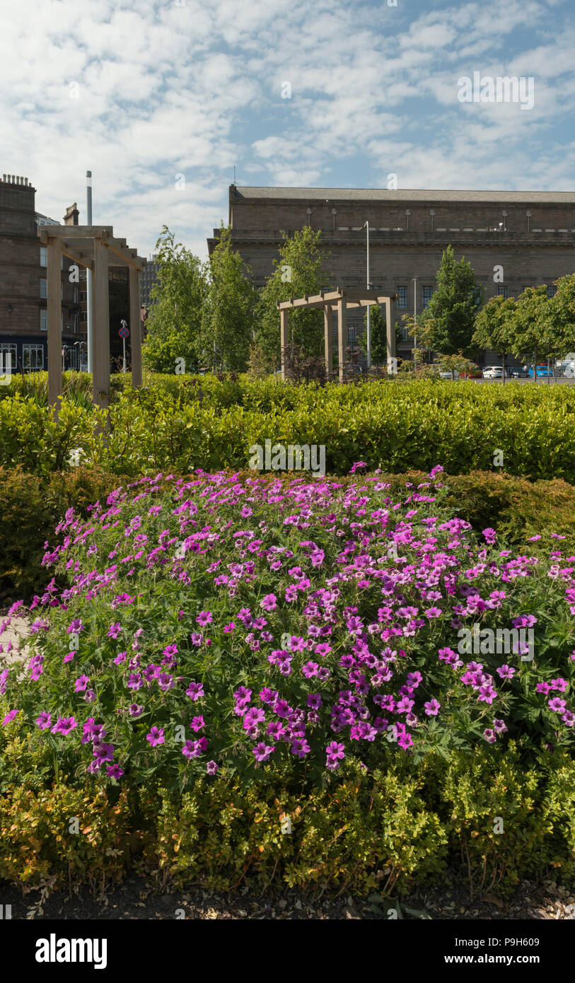 The Asia connections garden in Slessor Gardens, part of Dundee Waterfront development, highlights historic trade links of Dundee, Scotland, UK. - Stock Image