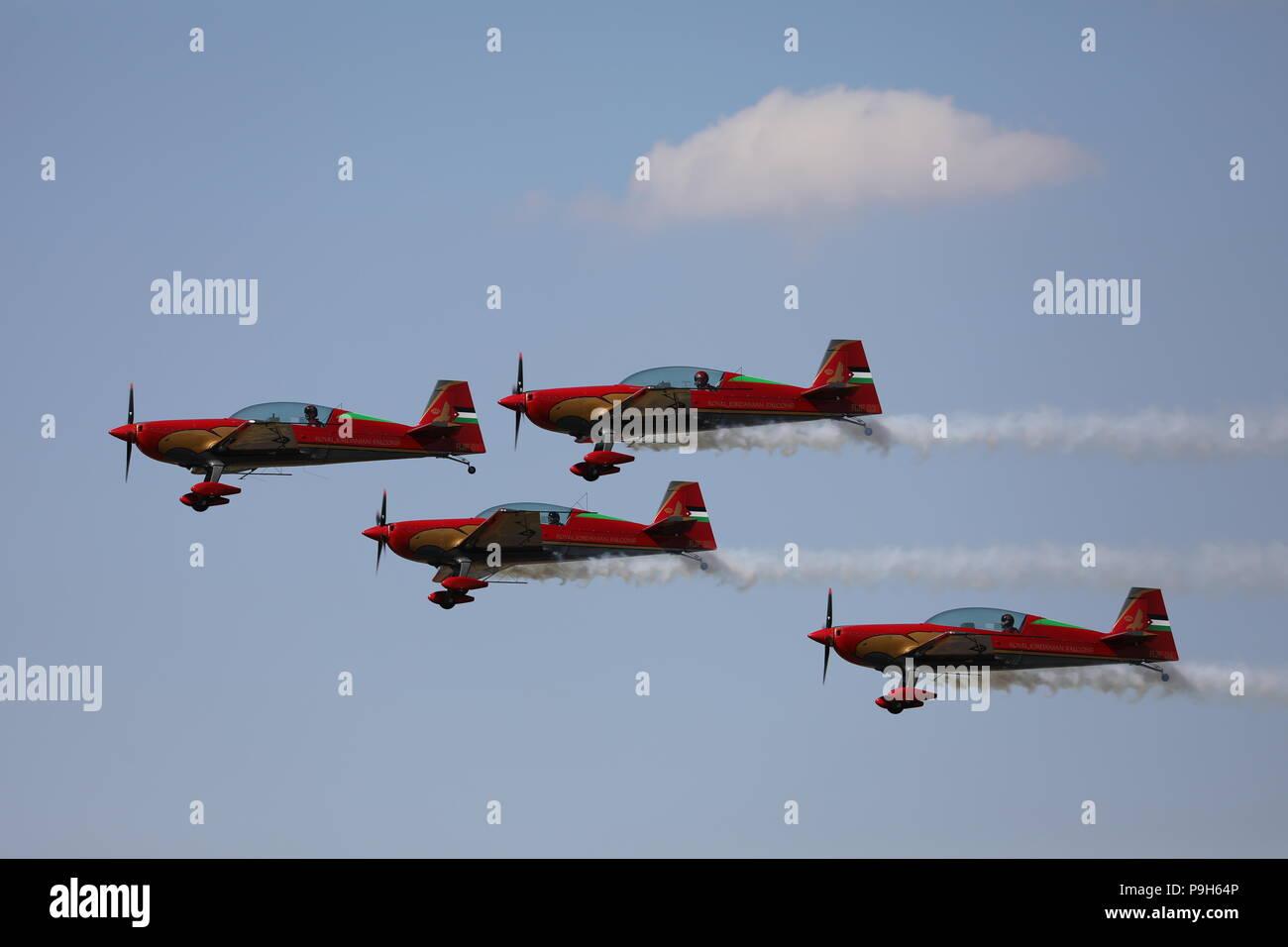 The Royal Jordanian Falcons Fairford RIAT Sunday 15th July 2018 Display Team Royal International Air Tattoo RAF100 - Stock Image