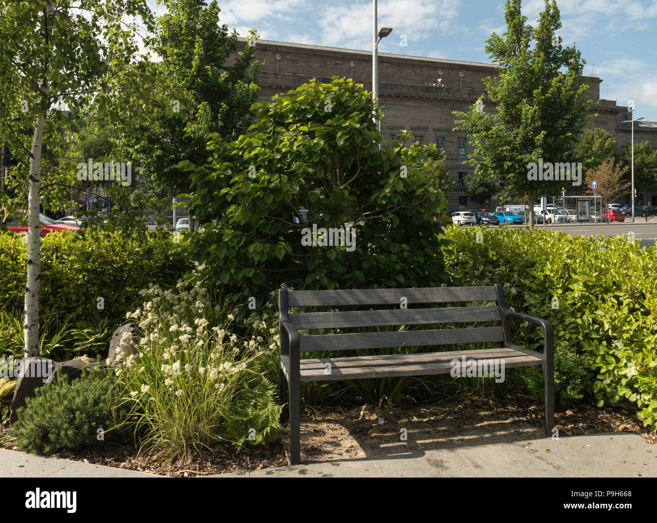 The Baltic connections pocket garden, in Slessor Gardens, is part of the Dundee Waterfront development scheme, Dundee, Scotland, UK. - Stock Image