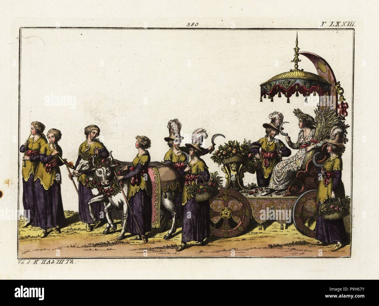 A triumphal carriage decorated with fruit and flowers from the harvest accompanied by female reapers (Schnitterinnen) holding scythes. A woman with a bushel of wheat sits on a throne. Part of the celebration of the birth of Freiderich, Duke of Wurttemberg. Taken from Delineation und Abbildung aller furstlichen Aufzug und Ritterspielen by Esaias von Hulsen, 1617. Handcoloured copperplate engraving from Robert von Spalart's Historical Picture of the Costumes of the Principal People of Antiquity and of the Middle Ages, Chez Collignon, Metz, 1810. - Stock Image
