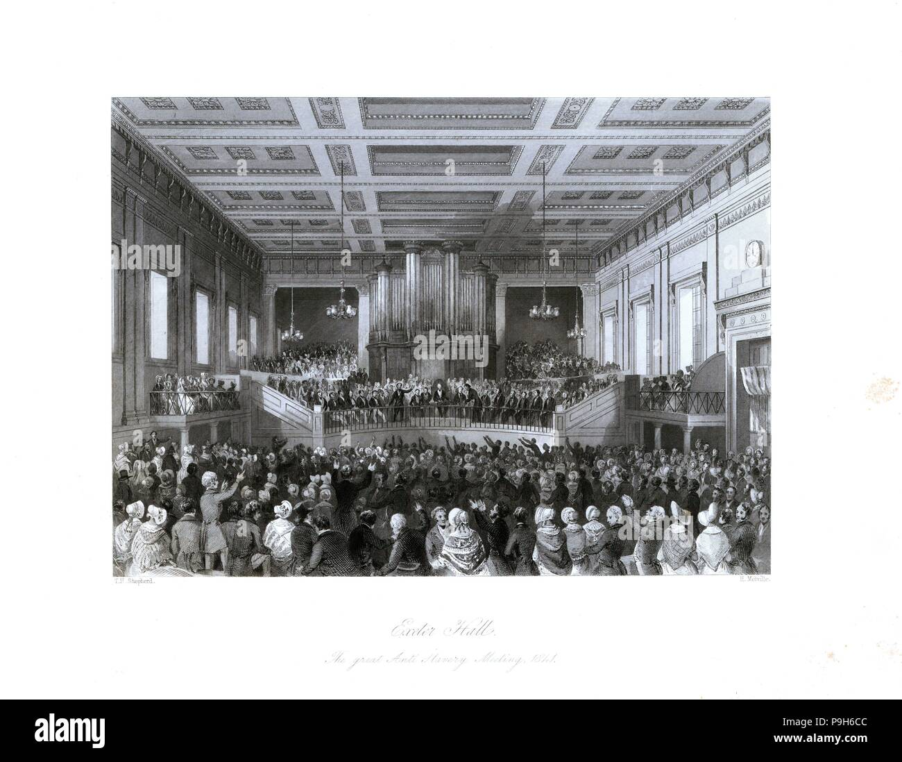 The great anti-slavery meeting at Exeter Hall, 1841. The Society of the Extinction of the Slave Trade meeting presided over by Prince Albert. Steel engraving by Henry Melville after an illustration by Thomas Hosmer Shepherd from London Interiors, Their Costumes and Ceremonies, Joshua Mead, London, 1841. - Stock Image