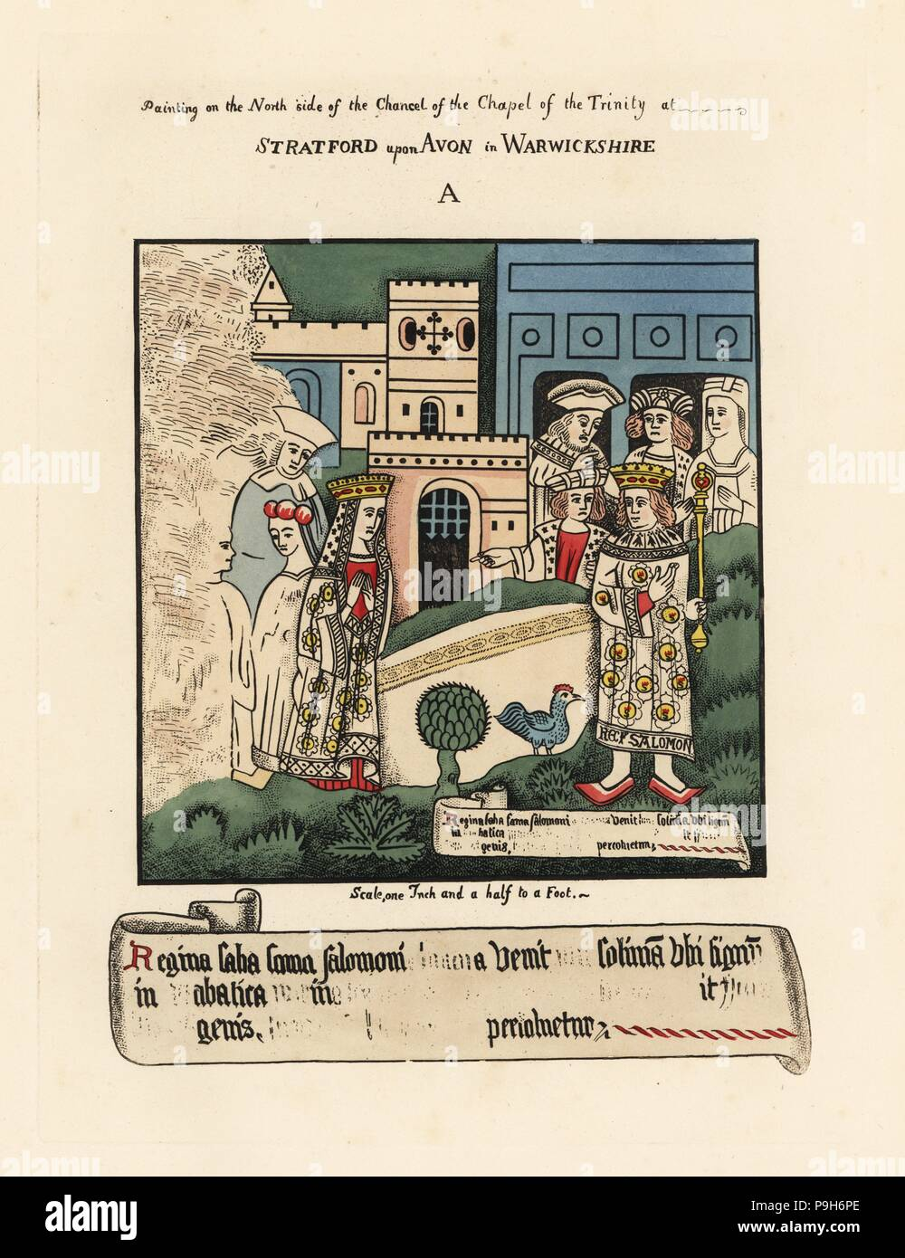 The Queen of Sheba visiting the court of King Solomon of Israel. Painting on the north side of the Chancel. Handcoloured etching drawn and etched by Thomas Fisher from his Paintings on the Walls of the Chapel of the Trinity, Stratford upon Avon, 1808. - Stock Image