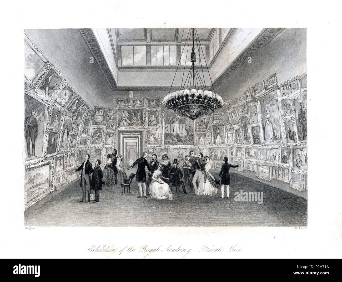 Private view for Queen Victoria of an exhibition at the Royal Academy of Arts. Steel engraving by Radclyffe after an illustration by Sargent from London Interiors, Their Costumes and Ceremonies, Joshua Mead, London, 1841. - Stock Image