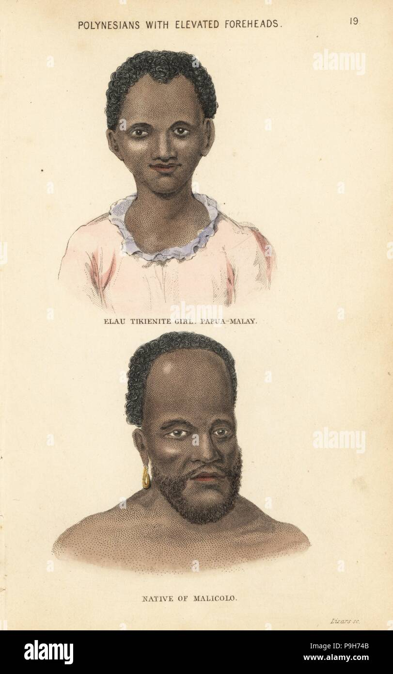 Elau, a Papua-Malay girl from the cannibal island of Tikiene, and a man of Malakula, Vanuatu (Malicolo). Polynesians with elevated foreheads. Handcoloured steel engraving by Lizars after an illustration by Charles Hamilton Smith from his Natural History of the Human Species, Edinburgh, W. H. Lizars, 1848. - Stock Image