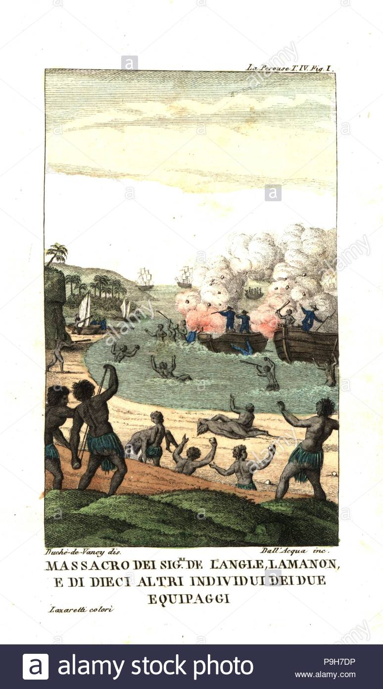 Massacre of French officers de Langle, Lamanon and 10 sailors by natives of the New Hebrides (Vanuatu). Illustration by Gaspard Duche de Vancy from Jean Francois Laperouse's Voyage. Copperplate engraving by Dell'Acqua handcoloured Lazaretti from Giovanni Battista Sonzogno's Collection of the Most Interesting Voyages (Raccolta de Viaggi Più Interessanti), Milan, 1815-1817. - Stock Image