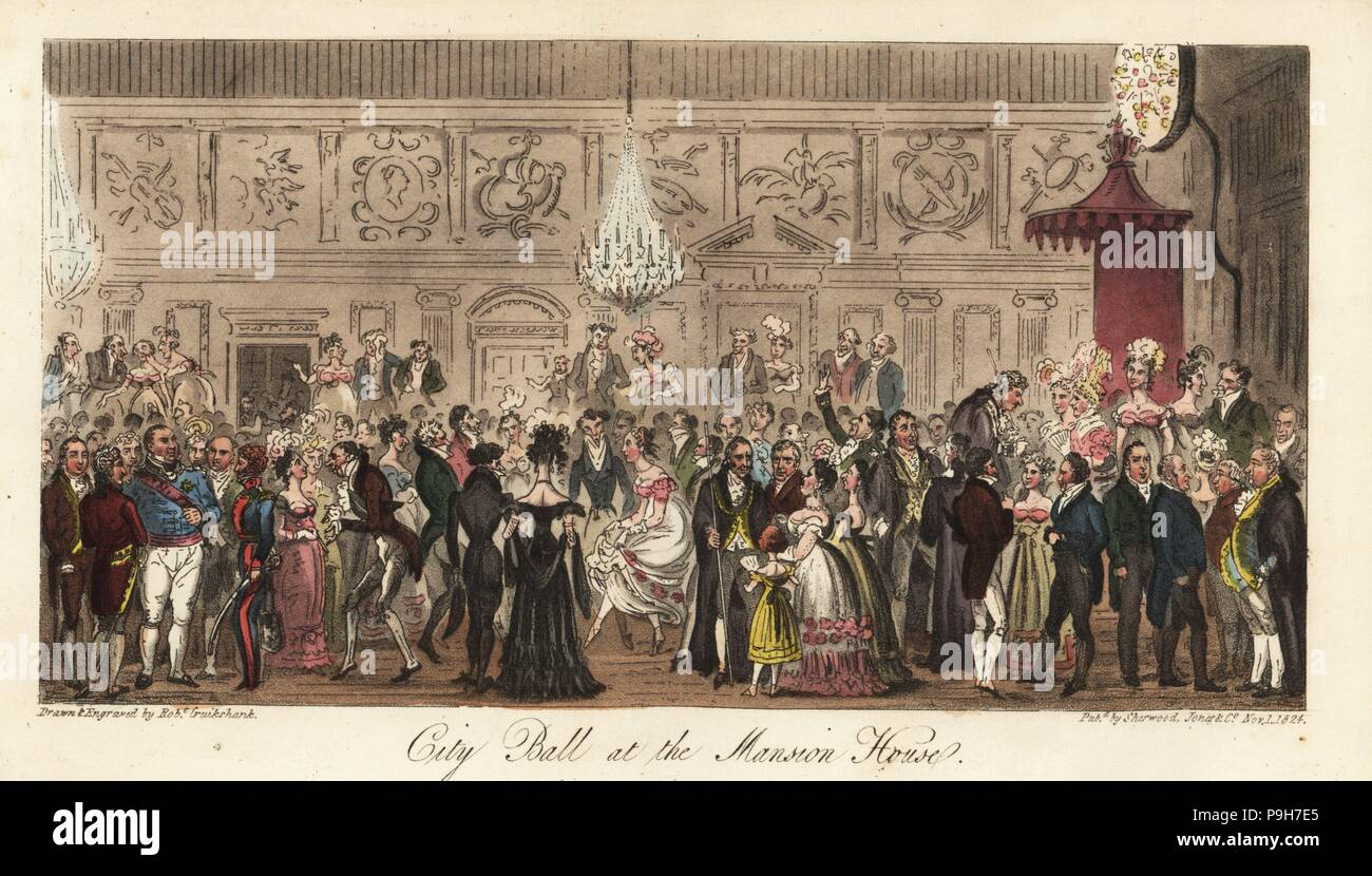 Regency gentlemen and ladies dancing at the Lord Mayor's ball. Lord Mayor Robert Waithman with ceremonial chain and staff of office. City Ball at the Mansion House. Handcoloured copperplate drawn and engraved by Robert Cruikshank from The English Spy, London, 1825. Written by Bernard Blackmantle, a pseudonym for Charles Molloy Westmacott. - Stock Image