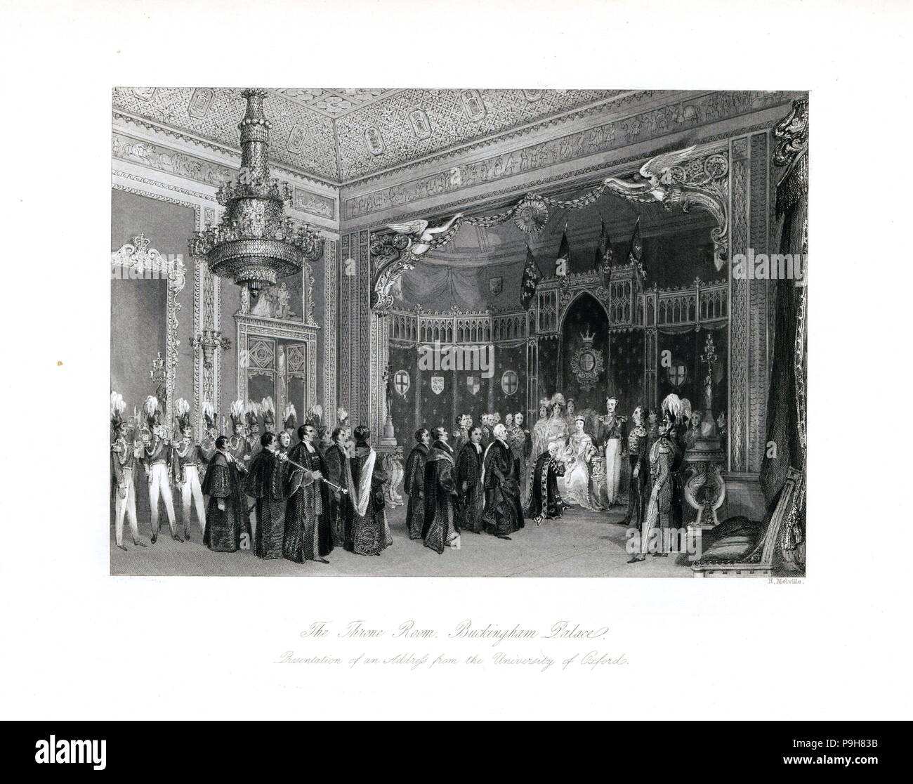 Presentation of an address from the University of Oxford to Queen Victoria in the Throne Room, Buckingham Palace. Steel engraving by Henry Melville after an illustration by Thomas Hosmer Shepherd from London Interiors, Their Costumes and Ceremonies, Joshua Mead, London, 1841. - Stock Image
