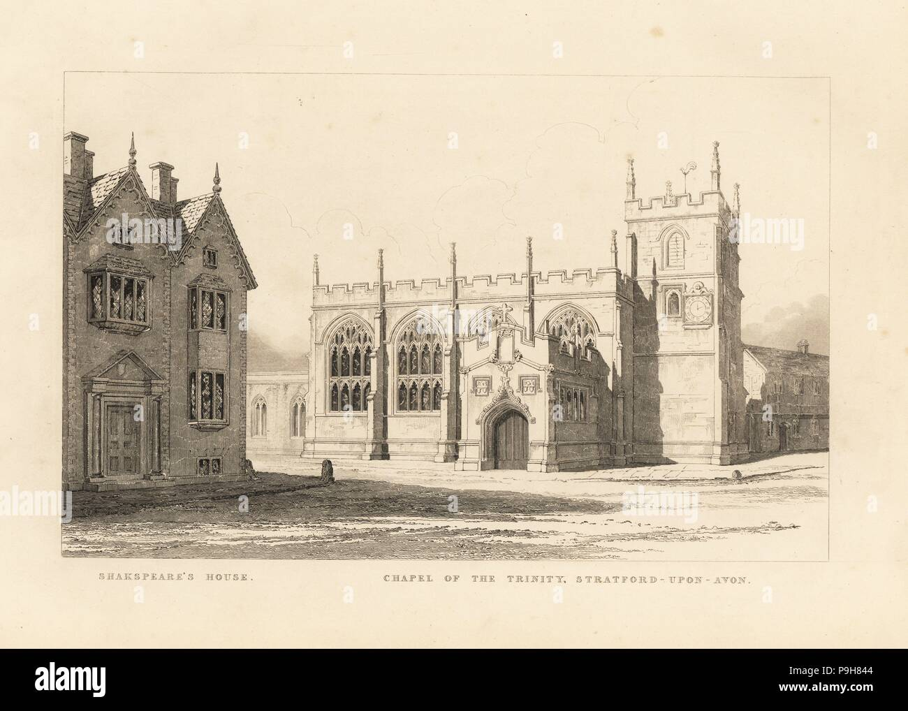 View of the Chapel of the Trinity next to Shakespeare's House in Stratford Upon Avon. Etching by Thomas Fisher from his Paintings on the Walls of the Chapel of the Trinity, Stratford upon Avon, 1808. - Stock Image