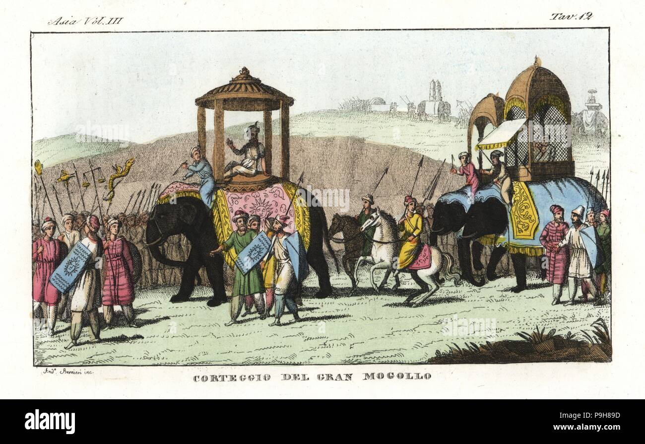 Cortege of a Mughal ruler in India. Mogul and courtiers riding in palanquins on elephants, guarded by cavalry and infantry. Handcoloured copperplate drawn and engraved by Andrea Bernieri from Giulio Ferrario's Ancient and Modern Costumes of all the Peoples of the World, Florence, Italy, 1844. - Stock Image