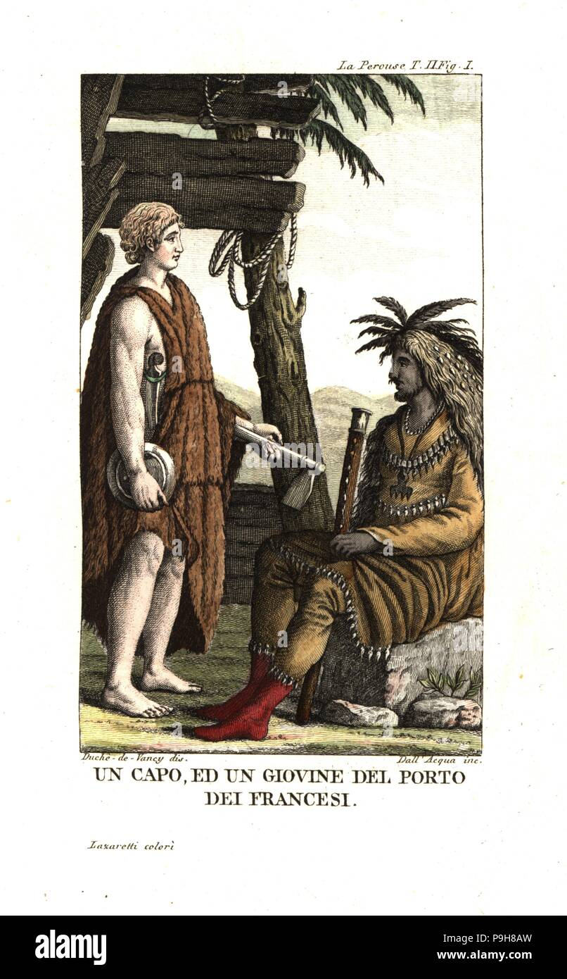 Costumes of a chief and a youth of the Tlingit nation, Port des Francais (Lituya Bay), Northwest coast of America (Alaska). Illustration by Gaspard Duche de Vancy from Jean Francois Laperouse's Voyage. Copperplate engraving by Dell'Acqua handcoloured Lazaretti from Giovanni Battista Sonzogno's Collection of the Most Interesting Voyages (Raccolta de Viaggi Più Interessanti), Milan, 1815-1817. - Stock Image