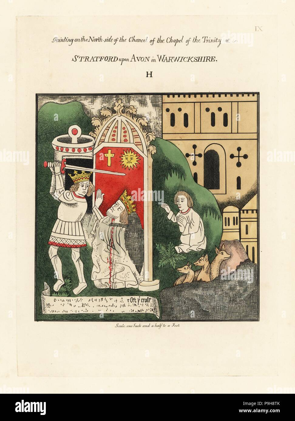 Byzantine Emperor Heraclius decapitating Sassanid Persian King Khosrau II. Handcoloured etching drawn and etched by Thomas Fisher from his Paintings on the Walls of the Chapel of the Trinity, Stratford upon Avon, 1808. - Stock Image