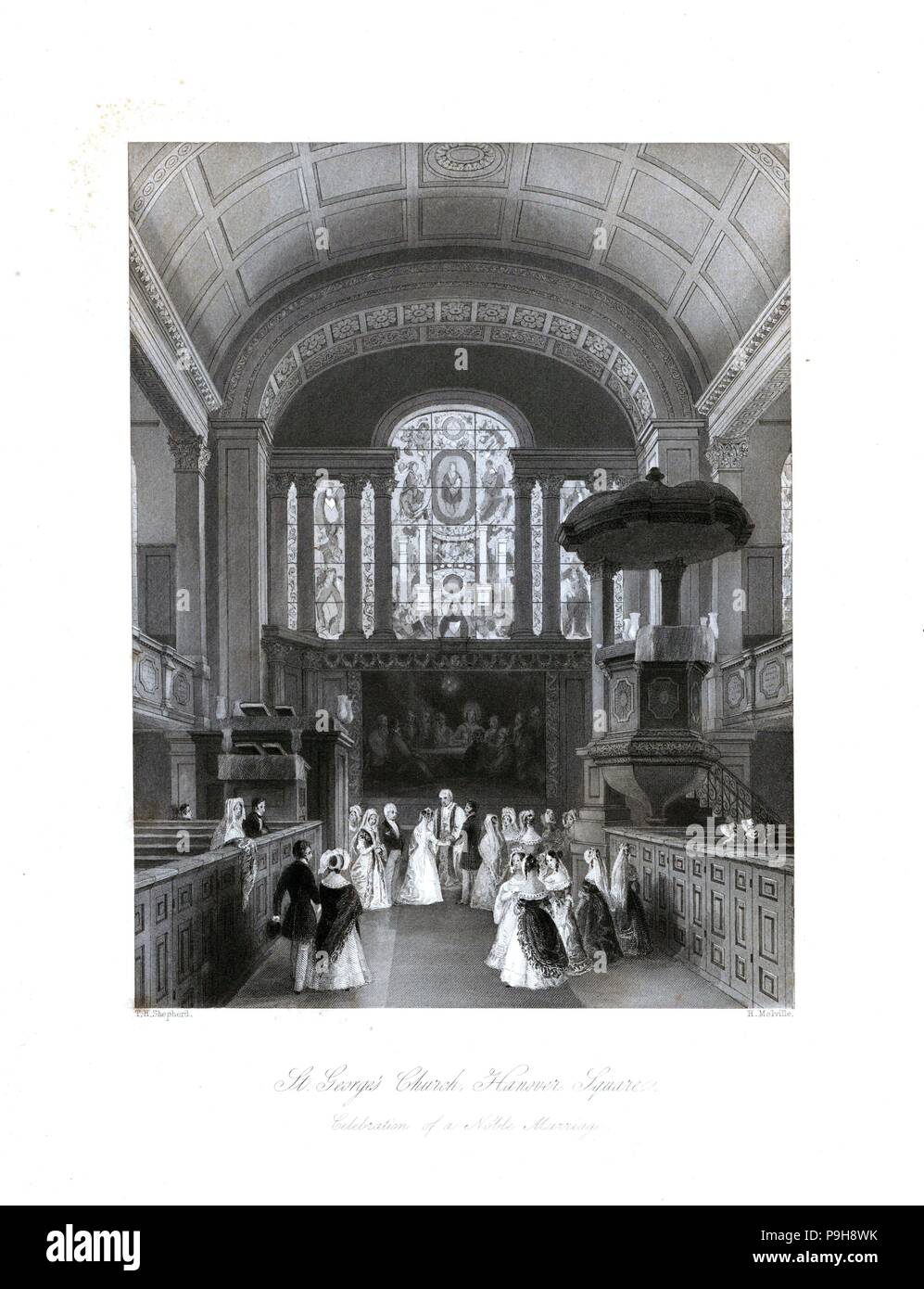 Celebration of a noble marriage in St. George's Church, Hanover Square. Steel engraving by Henry Melville after an illustration by Thomas Hosmer Shepherd from London Interiors, Their Costumes and Ceremonies, Joshua Mead, London, 1841. - Stock Image