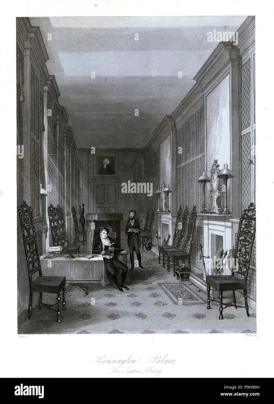 The Sussex Library in Kensington Palace. Steel engraving by Henry Melville after an illustration by Jarvis from London Interiors, Their Costumes and Ceremonies, Joshua Mead, London, 1841. - Stock Image