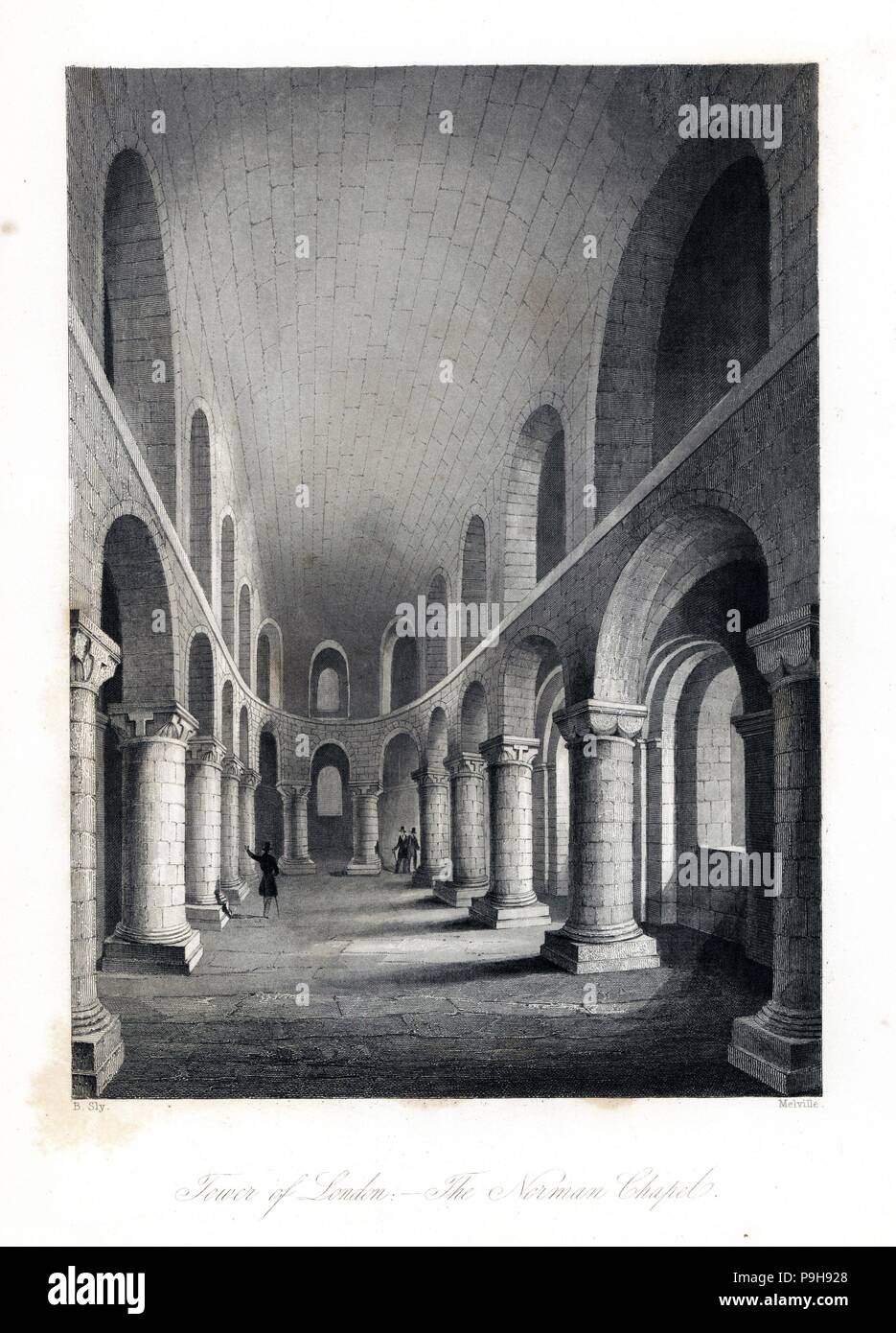 The Norman Chapel of St. John the Evangelist or Caesar's Chapel in the White Tower or Keep of the Tower of London. Steel engraving by Henry Melville after an illustration by B. Sly from London Interiors, Their Costumes and Ceremonies, Joshua Mead, London, 1841. - Stock Image