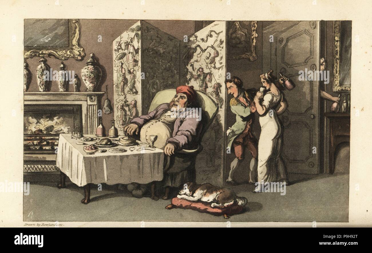 Ackermann 1823 At Card Party~doctor Syntax Hand Colored Engraving