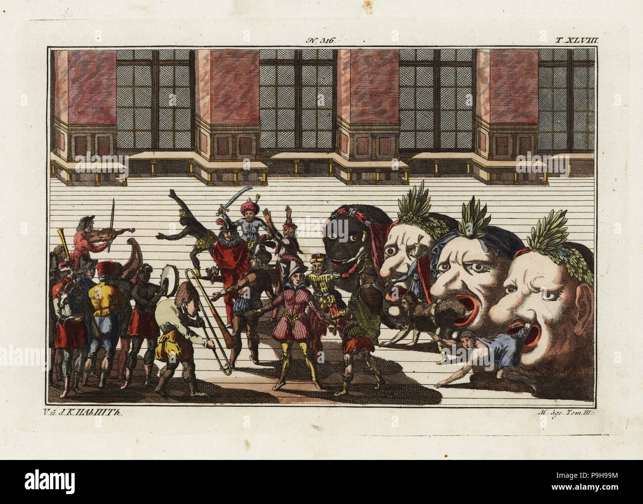 Twenty masked and costumed musicians and dancers emerge from four monstrous heads. Dance of the Nations, part of the celebrations of the birth of Freiderich, Duke of Wurttemberg, 1616. Taken from Delineation und Abbildung aller furstlichen Aufzug und Ritterspielen by Esaias von Hulsen, 1617. Handcoloured copperplate engraving from Robert von Spalart's Historical Picture of the Costumes of the Principal People of Antiquity and of the Middle Ages, Chez Collignon, Metz, 1810. - Stock Image
