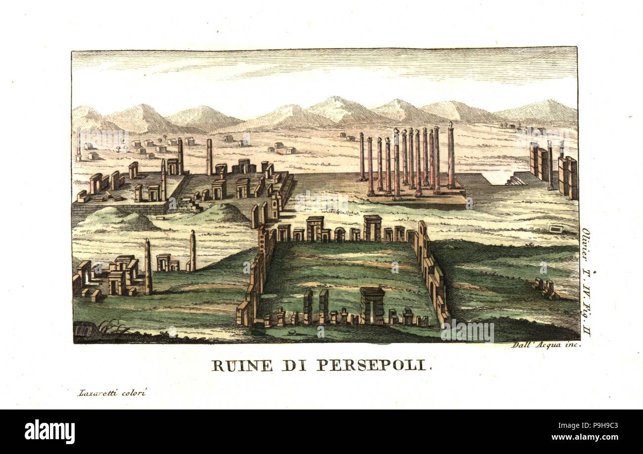 Ruins of Persepolis, or Takht-e-Jamshid, capital of the Achaemenid Empire. Illustration by Mounier from Guillaume-Antoine Olivier's Travels in the Ottoman Empire, Egypt and Persia, 1801. Copperplate engraving by Dell'Acqua handcoloured by Lazaretti from Giovanni Battista Sonzogno's Collection of the Most Interesting Voyages (Raccolta de Viaggi Piu Interessanti), Milan, 1815-1817. - Stock Image