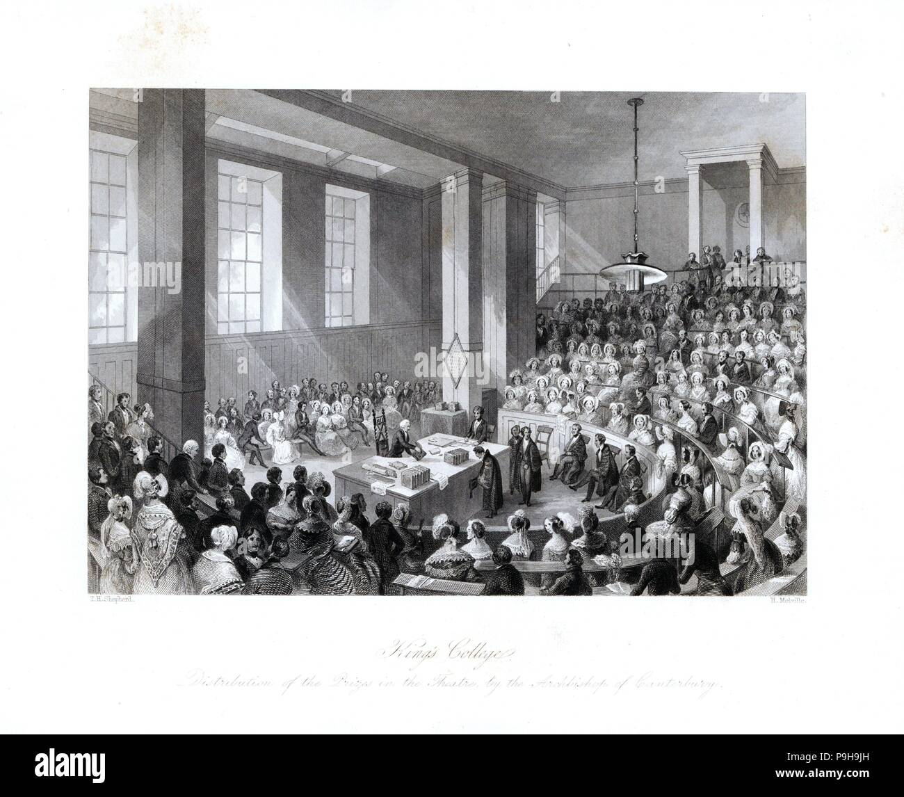 Distribution of prizes in the theatre at King's College by the Archbishop of Canterbury. Steel engraving by Henry Melville after an illustration by Thomas Hosmer Shepherd from London Interiors, Their Costumes and Ceremonies, Joshua Mead, London, 1841. - Stock Image