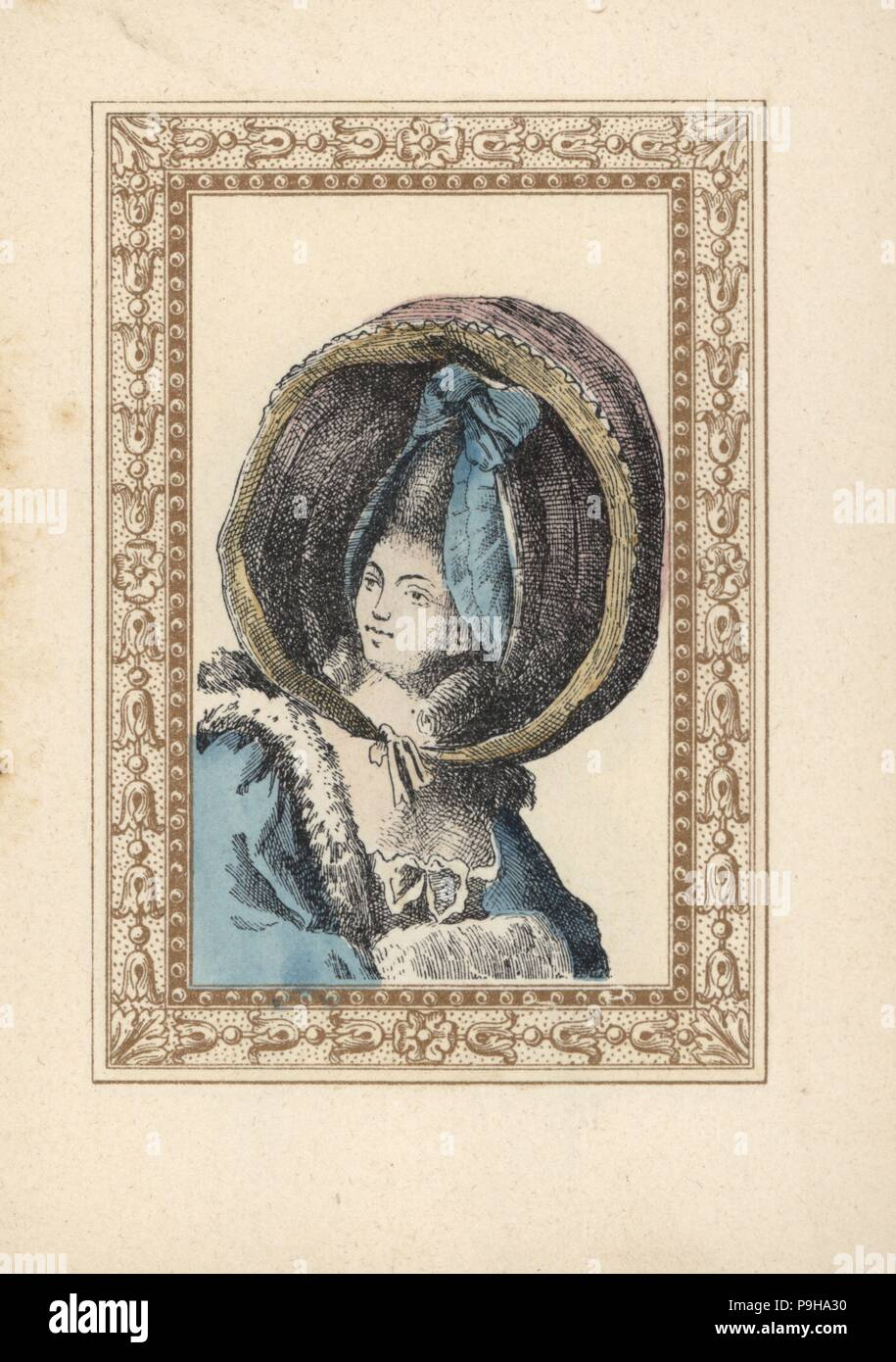 Woman in a round bonnet with ribbon rosette and two ringlets. The bonnet is called a turned-up calash, Caleche retroussee, after the carriage with a folding top. Handcoloured lithograph by de Laubadere from Octave Uzanne's Stylish Hairstyle or Eccentric Finery from the era of King Louis XVI, Coiffures de Style, la Parure Excentrique, Rouveyre, Paris, 1895. - Stock Image