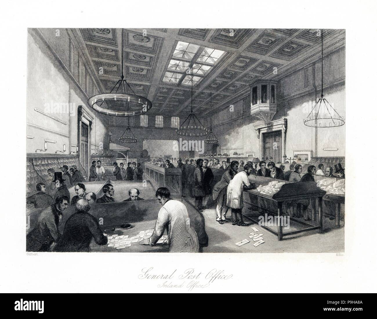 The Inland Office within the General Post Office. Royal Mail clerks sorting some of the 200 million letters sent annually in England in the 1840s. Steel engraving by Ellis after an illustration by Gilbert from London Interiors, Their Costumes and Ceremonies, Joshua Mead, London, 1841. - Stock Image