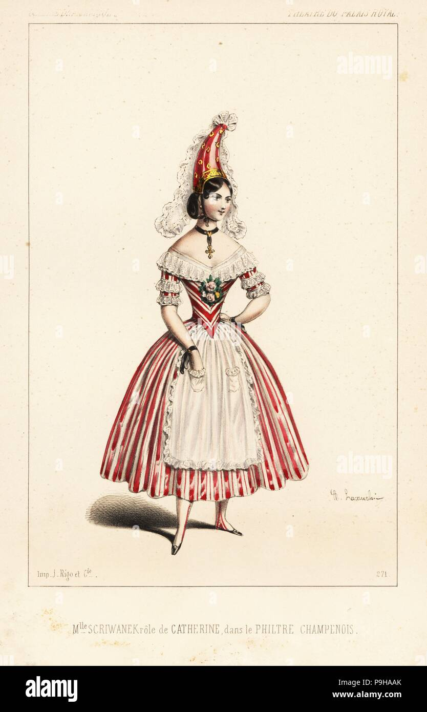 French actress Augustine-Celestine Schriwaneck as Catherine in Le Philtre Champenois by Melesville and Brazier, Theatre du Palais Royal, 1846. French actress Augustine-Celestine Schriwaneck as Catherine in Le Philtre Champenois by Melesville and Brazier, Theatre du Palais Royal, 1846. - Stock Image