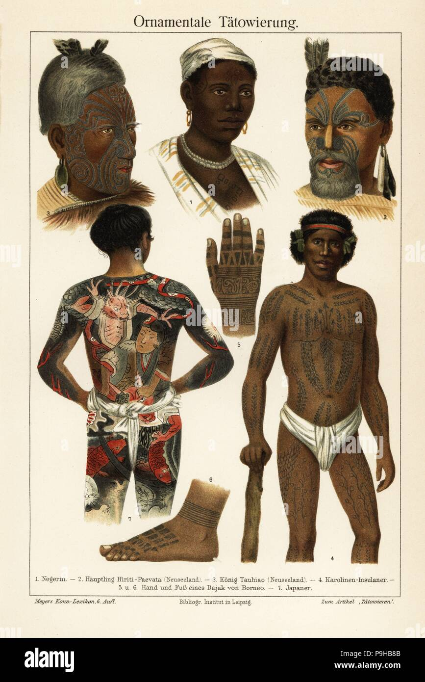 Ornamental tattoos: African woman 1, Maori chief (New Zealand) 2, Maori king 3, Caroline Islander 4, hand 5 and foot 6 of a Dayak (Borneo), and a Japanese man with irezumi and fundoshi 7. Chromolithograph from Joseph Meyer's encyclopedia, Meyers Konversations-Lexikon, 1885. - Stock Image