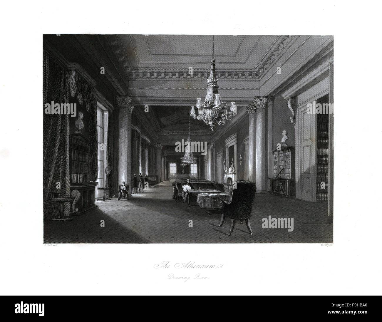 The drawing room in the Athenaeum Club. Steel engraving by Melville after an illustration by L.L. Hewitt from London Interiors, Their Costumes and Ceremonies, Joshua Mead, London, 1841. - Stock Image