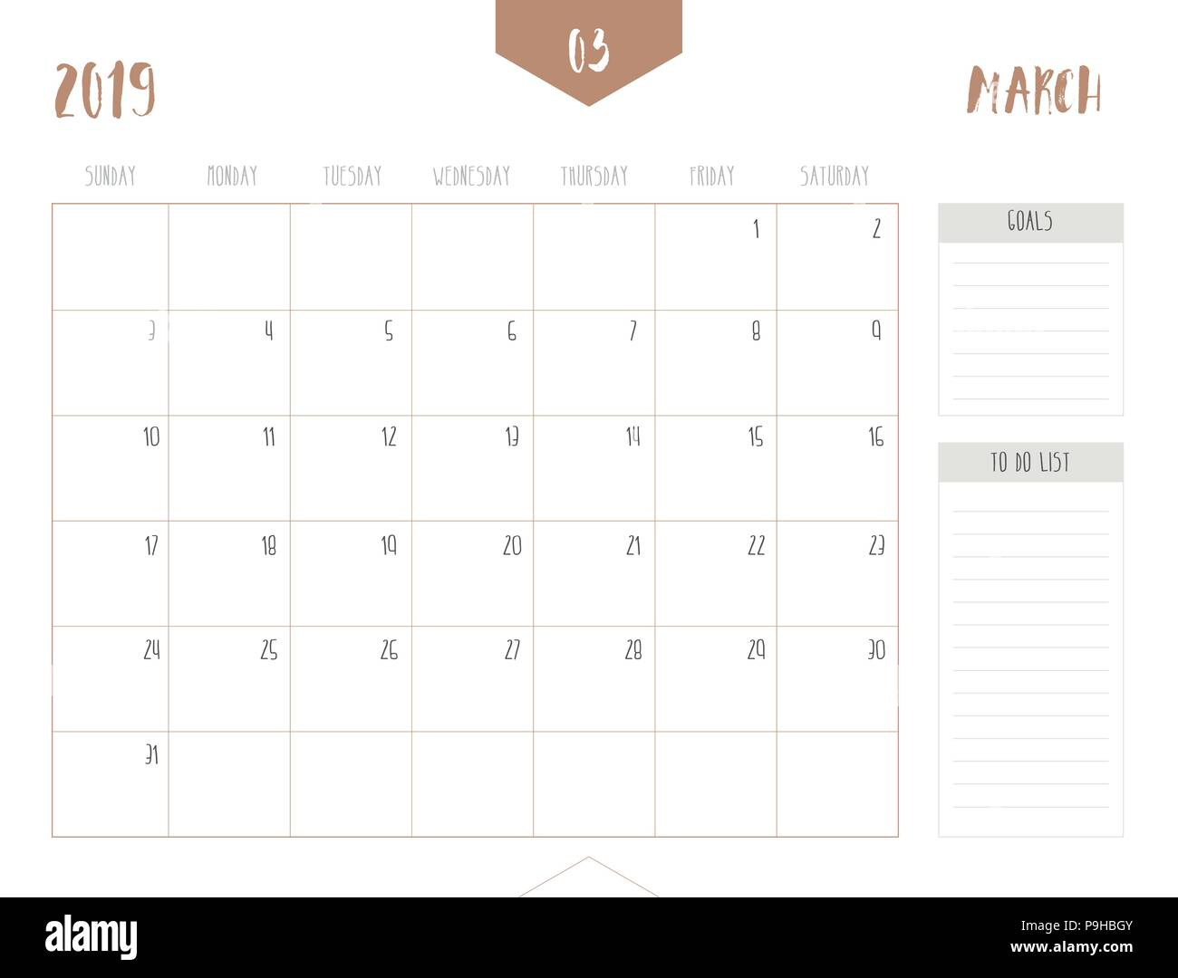 Vector of calendar 2019 ( March ) in simple clean table style with goals and to do list box; full size 21 x 16 cm; Week start on Sunday Stock Vector
