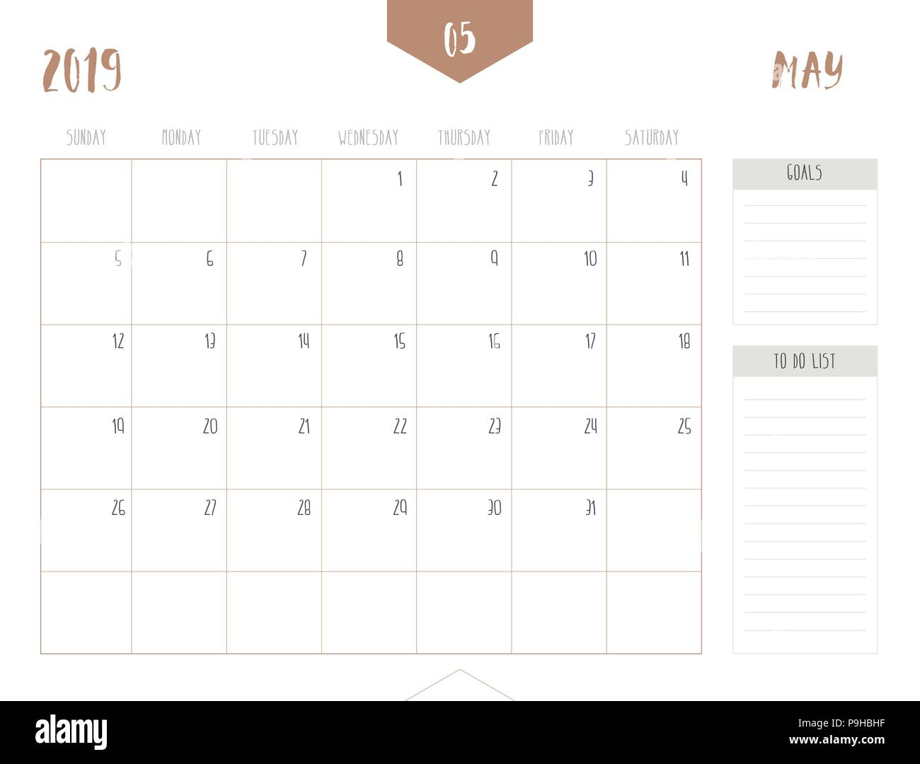 Vector of calendar 2019 ( May ) in simple clean table style with goals and to do list box; full size 21 x 16 cm; Week start on Sunday Stock Vector