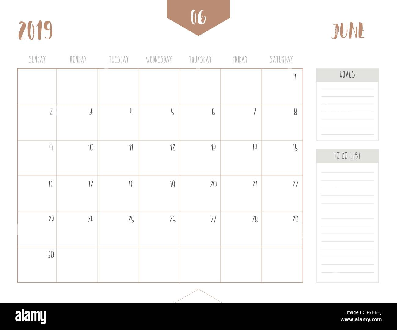 Vector of calendar 2019 ( June ) in simple clean table style with goals and to do list box; full size 21 x 16 cm; Week start on Sunday Stock Vector