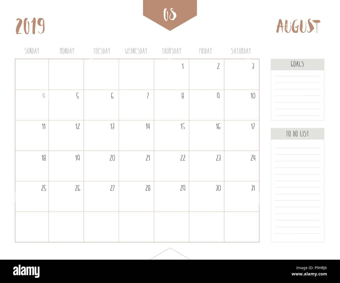 Calendario 2019 Con Numero Week.Vector Of Calendar 2019 August In Simple Clean Table