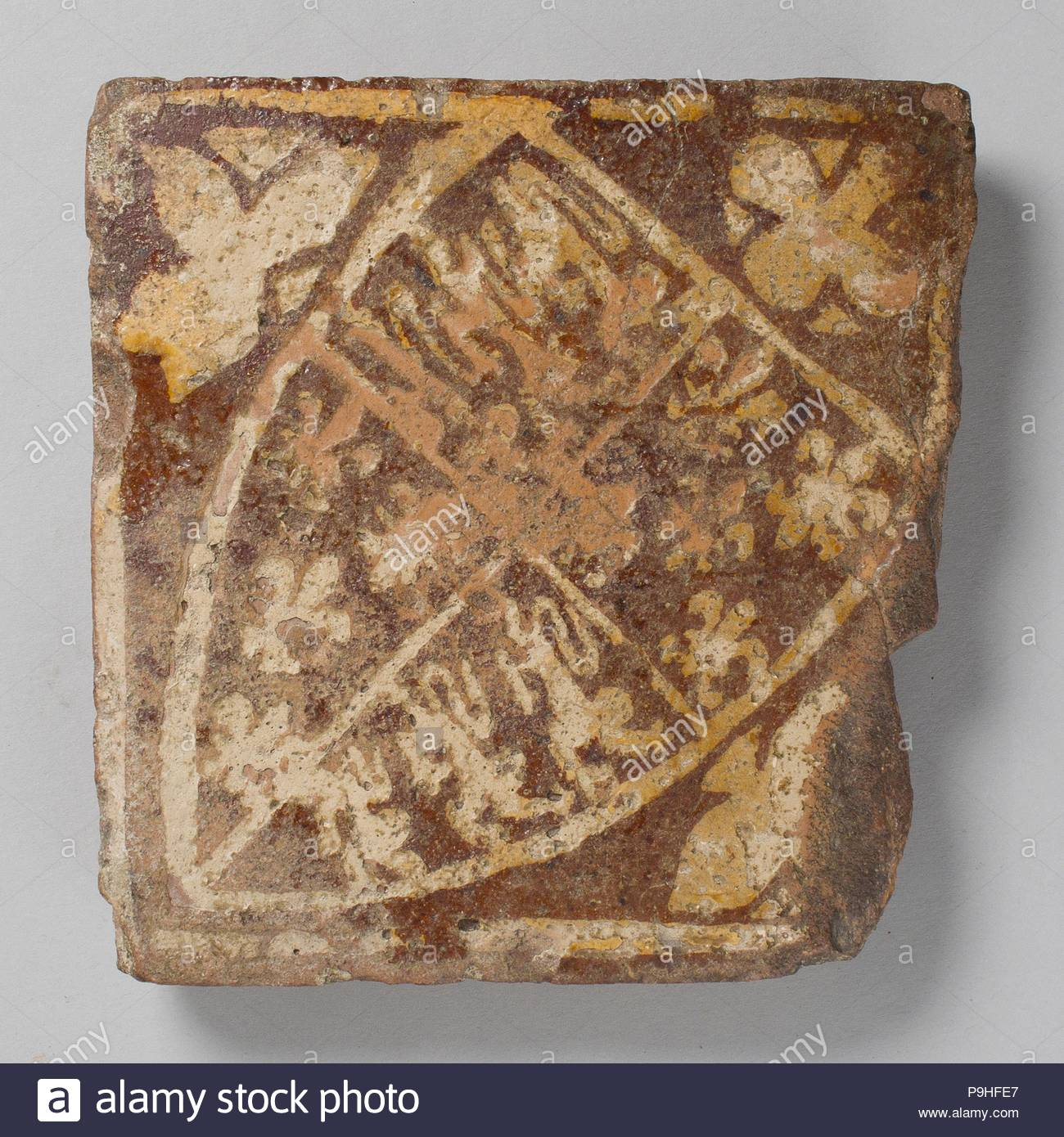 Two-Colored Tile, late 14th century, Made in Nottingham or ...