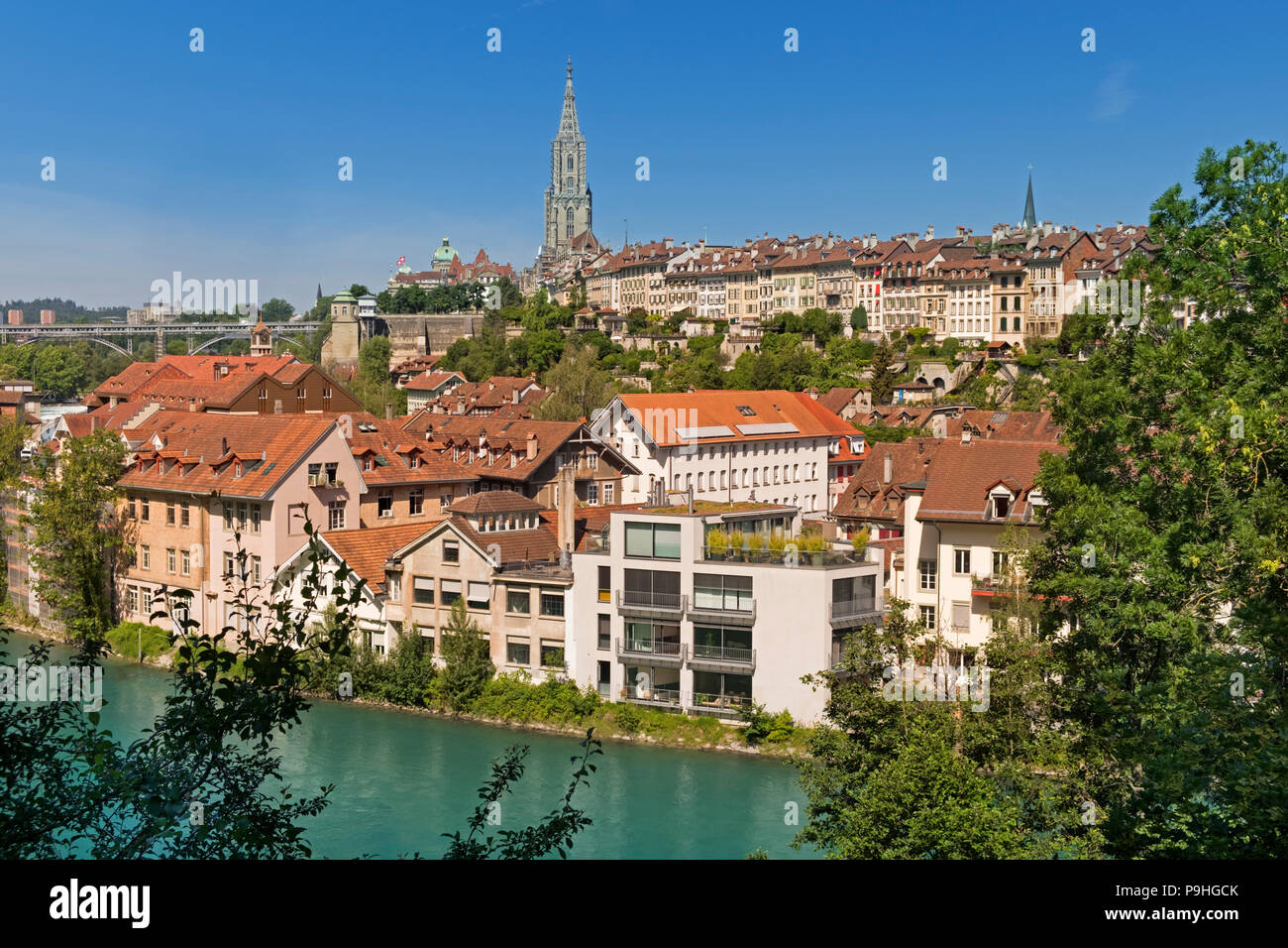 City view to River Aare and Minster Cathedral Bern Switzerland - Stock Image