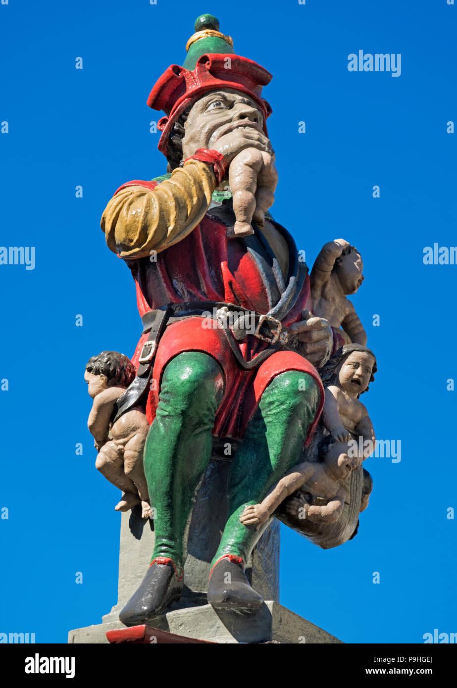 Kindlifresserbrunnen Child Eater Fountain statue Old Town Bern Switzerland - Stock Image